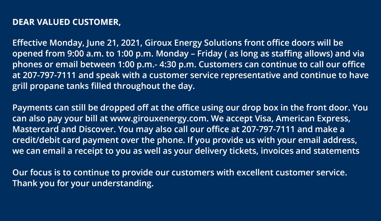 COVID-19 Announcement from Giroux Energy Solutions.