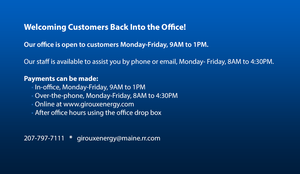 Welcome Back to the office Announcement from Giroux Energy Solutions.